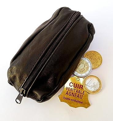 Porte Monnaie Pour Homme Cuir Véritable d Agneau Naturel Noir Maroquinerie  Portefeuille Sac 6b1dec6fd02