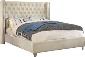 Meridian Furniture Aiden Collection Modern | Contemporary Velvet Upholstered Bed with Deep Button Tufting, Solid Wood Frame, and Custom Chrome Legs, Queen, Cream
