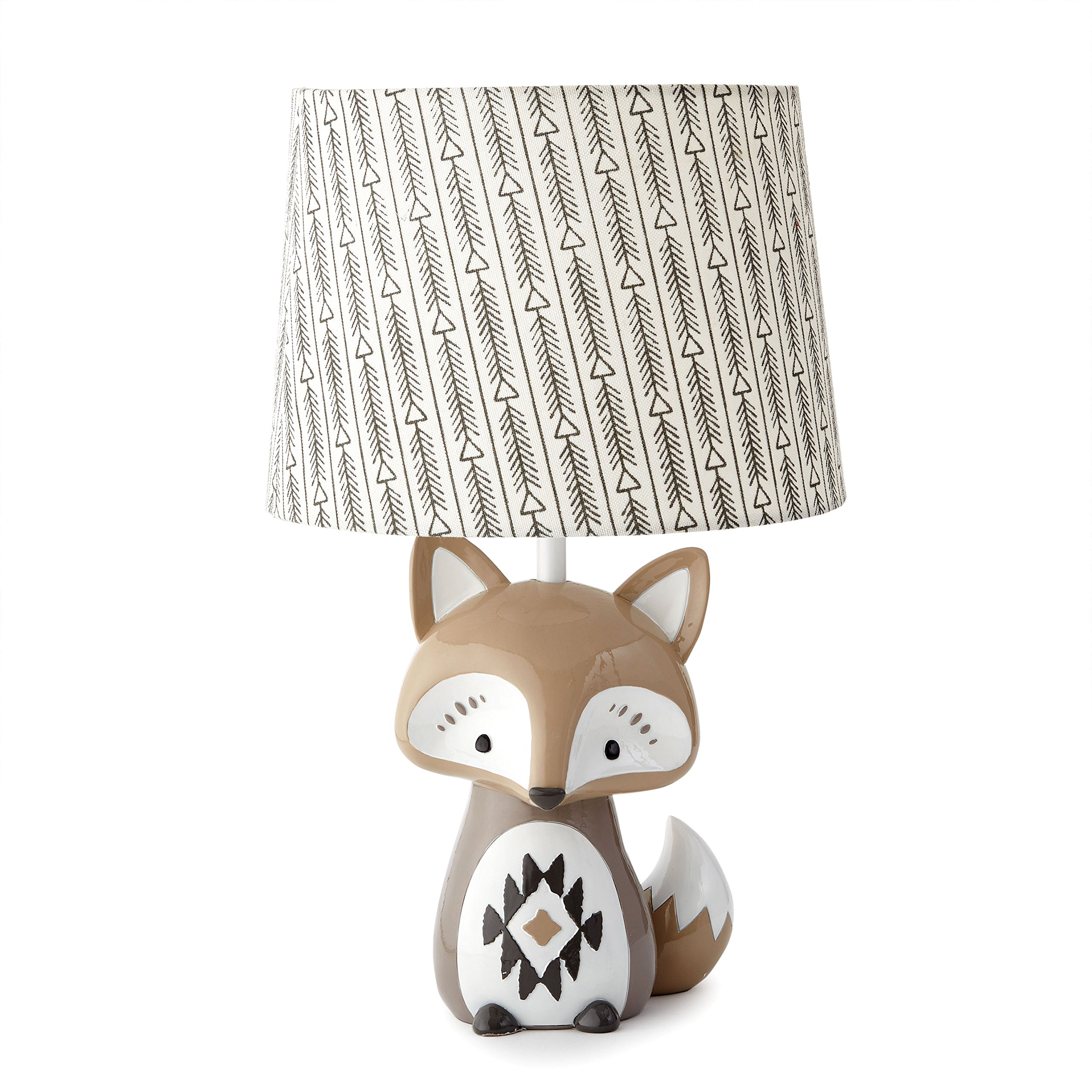 Levtex Baby Bailey Charcoal Arrow Print Lamp Shade and Taupe Fox-Shaped Lamp Base by Levtex