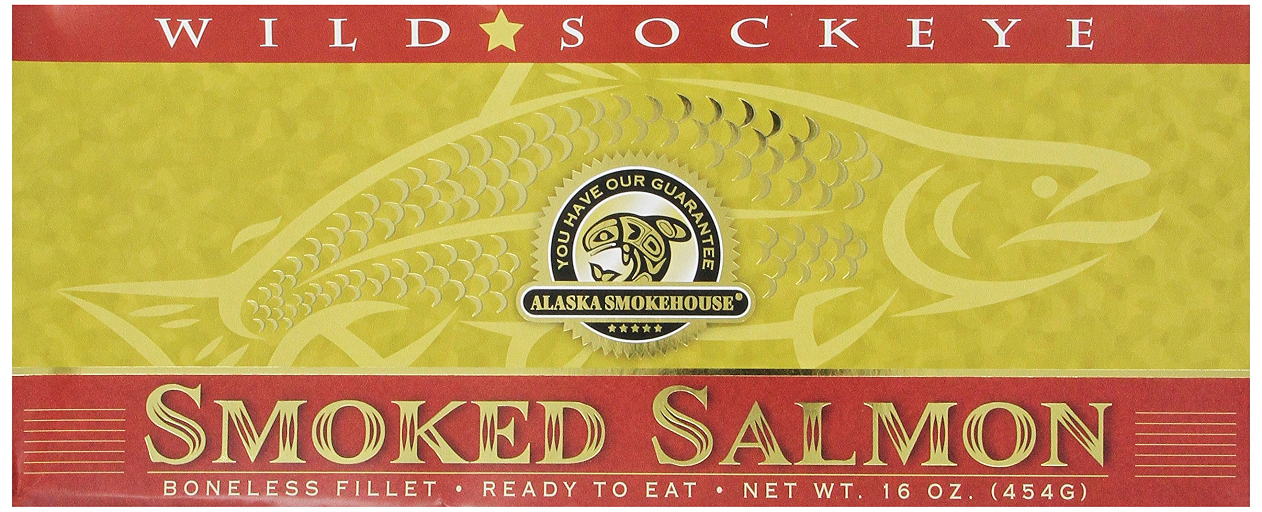Alaska Smokehouse Smoked Sockeye Salmon Fillet In Gold, 16 Ounce Gift Box by Alaska Smokehouse