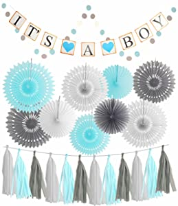 MEANT2TOBE Blue White Grey Baby Boy Baby Shower Decorations / Grey Elephant Baby Shower, Blue Baby Shower Decorations for Boy - Its A Boy Party Decor   Garland Banner  Photo Props and Decor