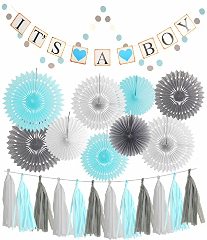 Amazon Blue White Grey Baby Boy Baby Shower Decorations Grey