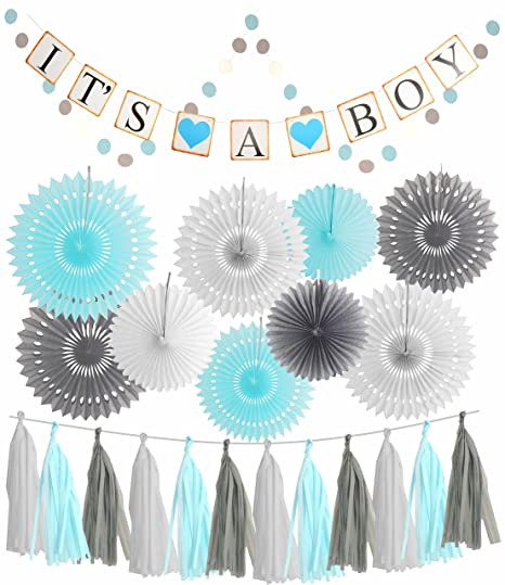 Amazoncom Meant2tobe Blue White Grey Baby Boy Baby Shower