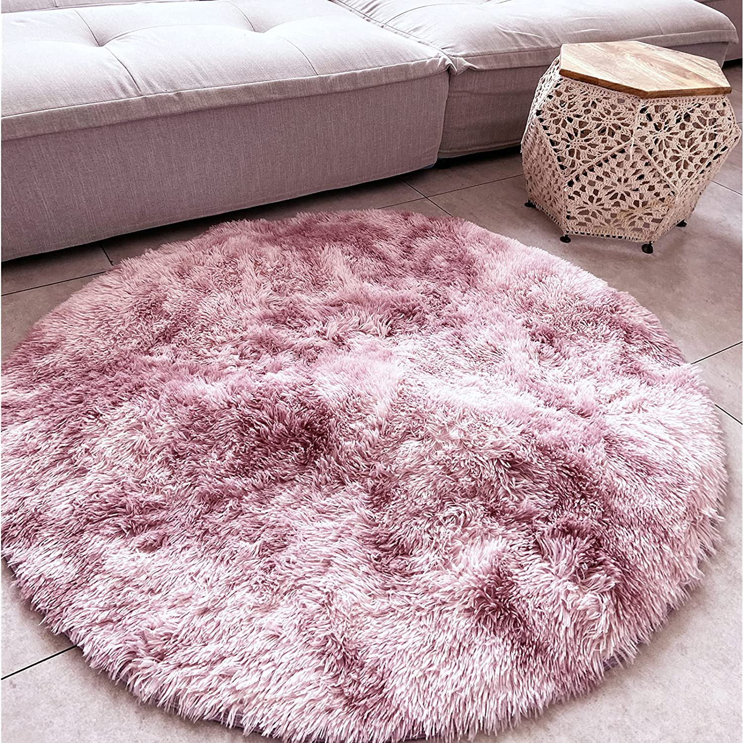 Faux Fur Rug,Area Rug Ultra Soft Gradient tie-Dyed Rugs for Living Room,Small Rug for Home Decor Living Room Decor Bedroom for Girls Boys Teen Room Decor Nursery Decor,Round 4 ft,Pink-Purple,1 pcs.