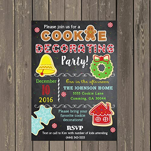 christmas holiday cookie decorating party invitation set of 10 5x7 inch invitations with white envelopes