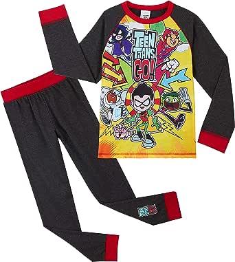 Teen Titans Go! Pijama para Niños Invierno, con Superhéroes Beast Boy Cyborg Starfire Robin Raven, Ropa de Dormir con Camiseta de Manga Larga, Regalo para Niños y Niñas 4-10 años