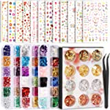 Teenitor Nail Art Decoration with 12 Sheets Nail Art Stickers for Nail Art , Butterfly Nail Foil Stickers, Nail Sequins and R