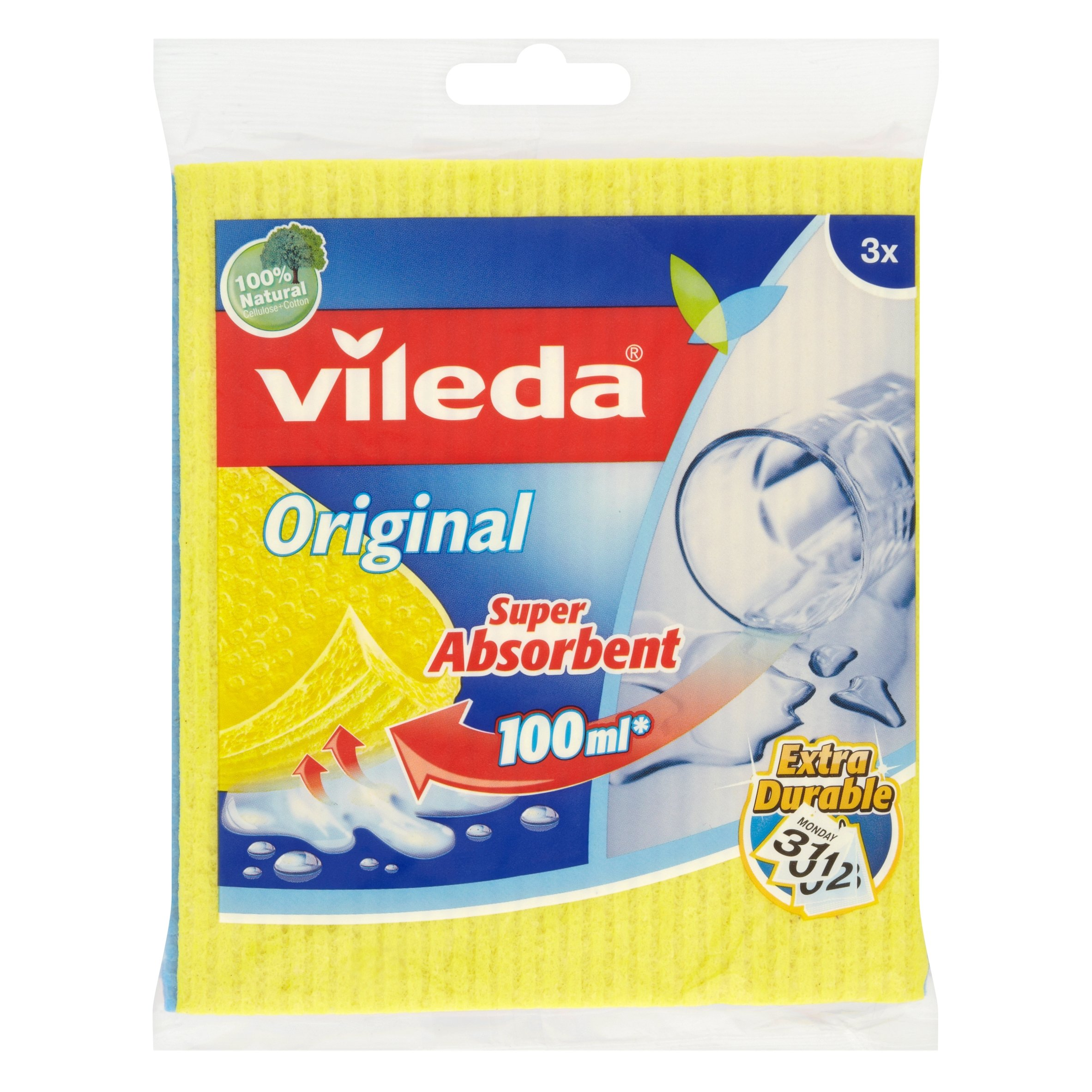 Vileda Super Absorbent Sponge Cloth, Pack of 12, Multi-Colour by Vileda (Image #1)