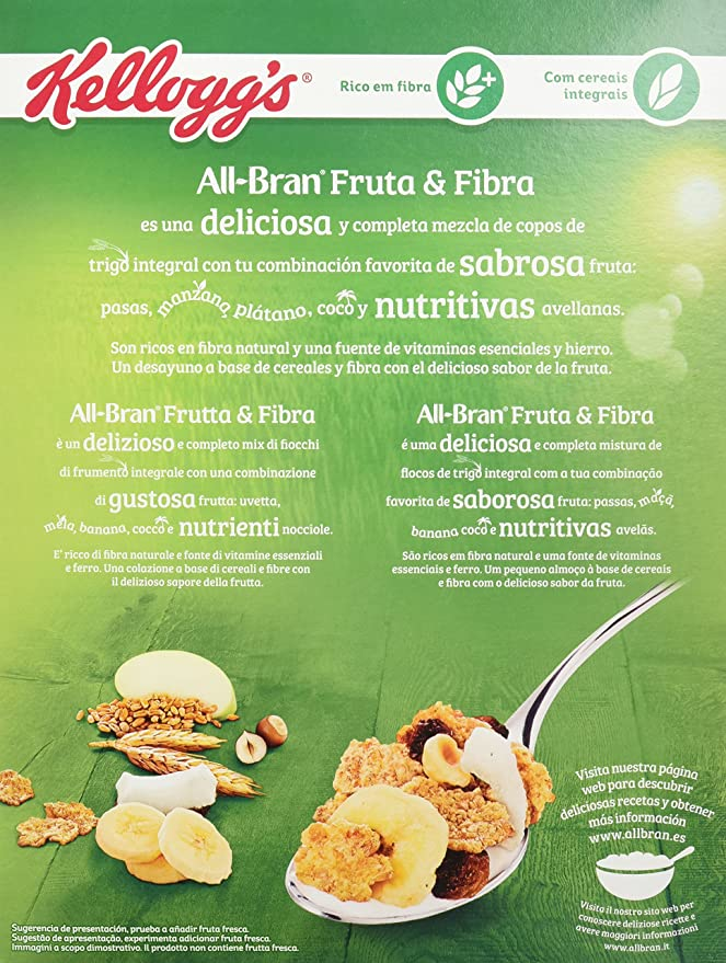 KelloggŽs All Bran Fruit & Fibre Copos de Trigo Integral - 500 gr: Amazon.es: Amazon Pantry