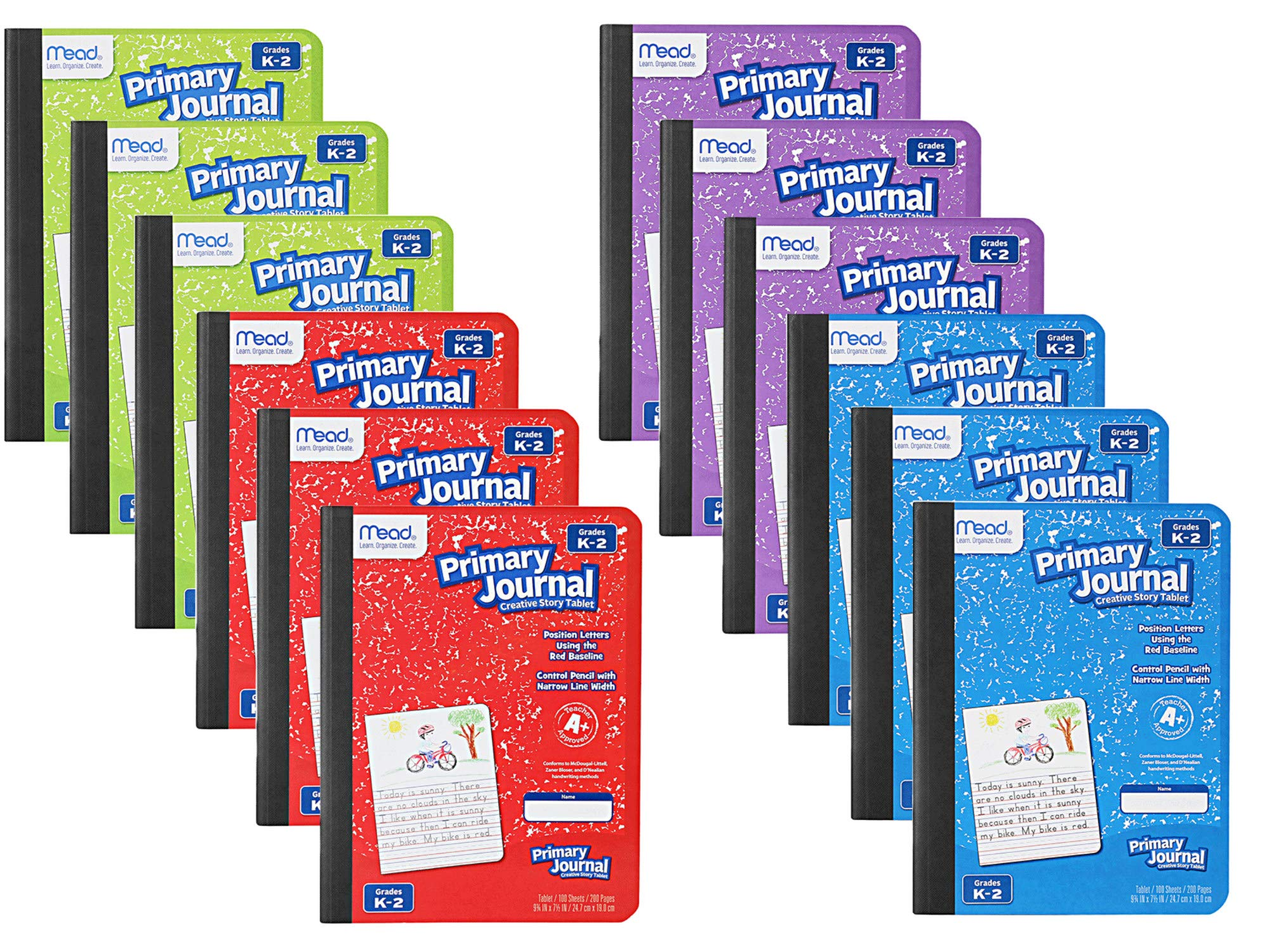 Mead Primary Journal Kindergarten Writing Tablet 12 PACK of Primary Composition Notebook For Grades K- 2, 100 Sheets (200 Pages) Creative Story Notebooks For Kids 9 3/4 in by 7 1/2 in.