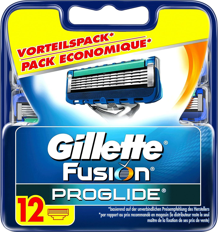 Gillette - Gillette Fusion Proglide - Afeitar con 5 palas para hombres - 12 piezas: Amazon.es: Salud y cuidado personal