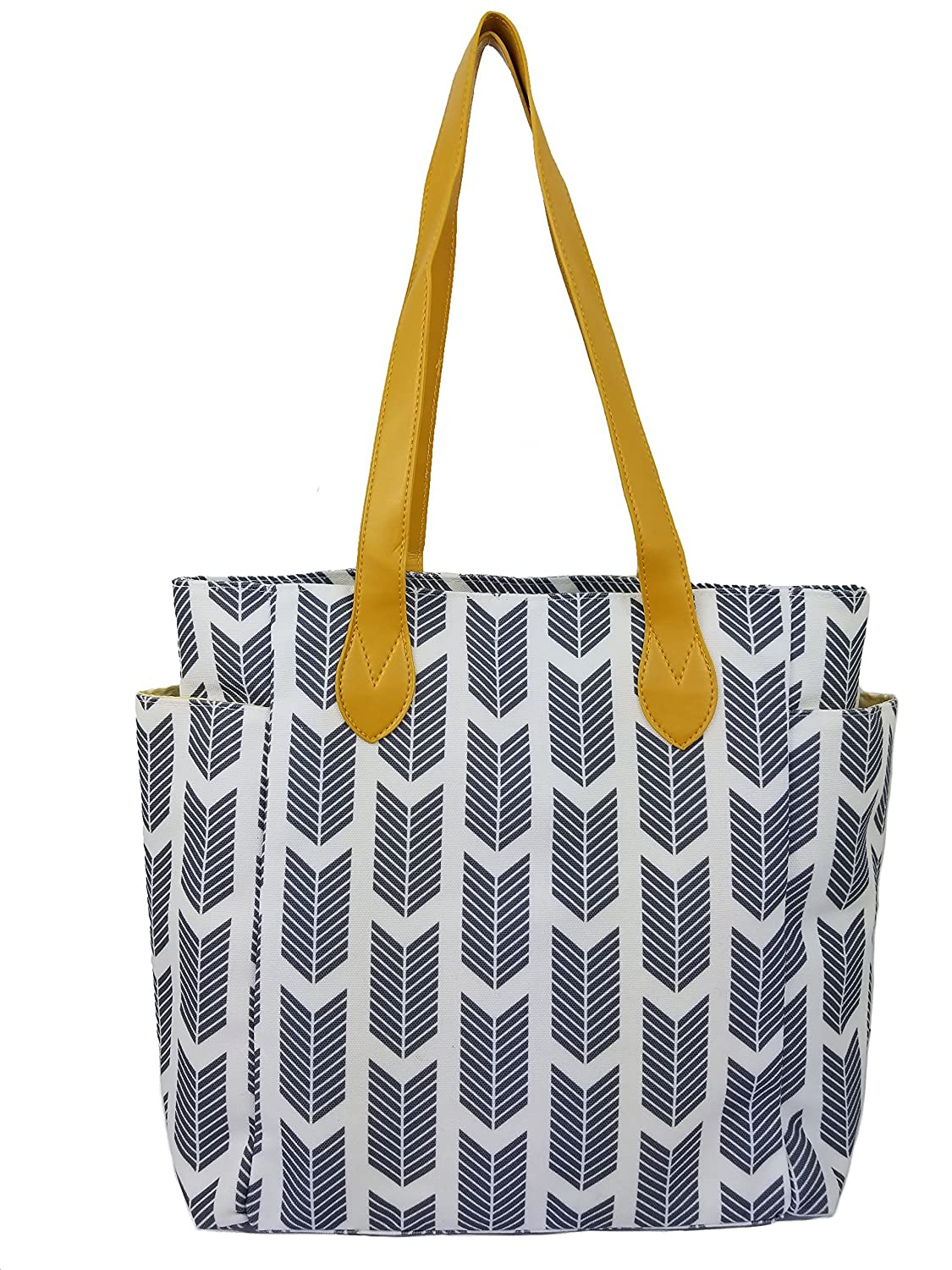 Beach Tote Bag With Arrow Print. This Top Handle Shoulder Handbag Is Perfect For Summer. Summer Sale! (Gray) by Amor Est Vitae