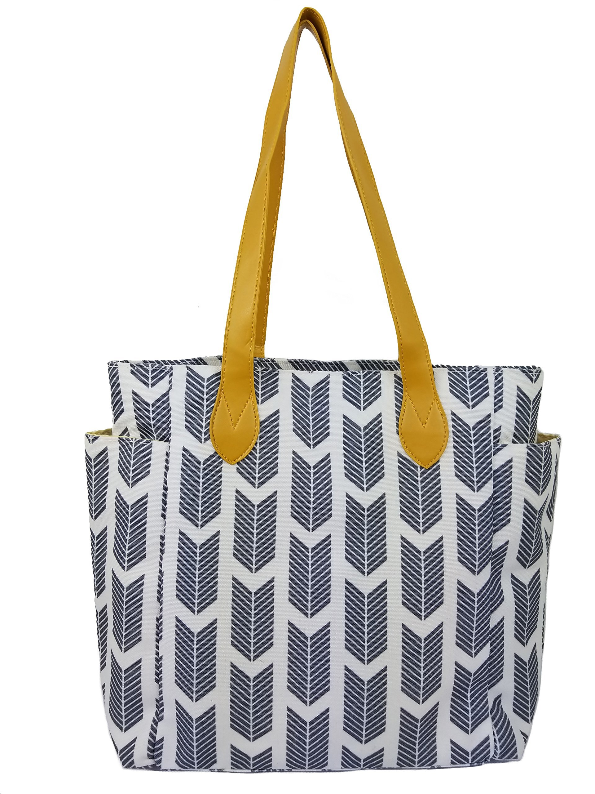 Tote bag with arrow print. This top handle shoulder handbag is Perfect for fall. Sale Today! (gray)