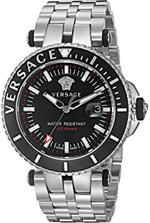 Versace Mens V-Race Swiss Quartz Stainless Steel Casual Watch, Color:
