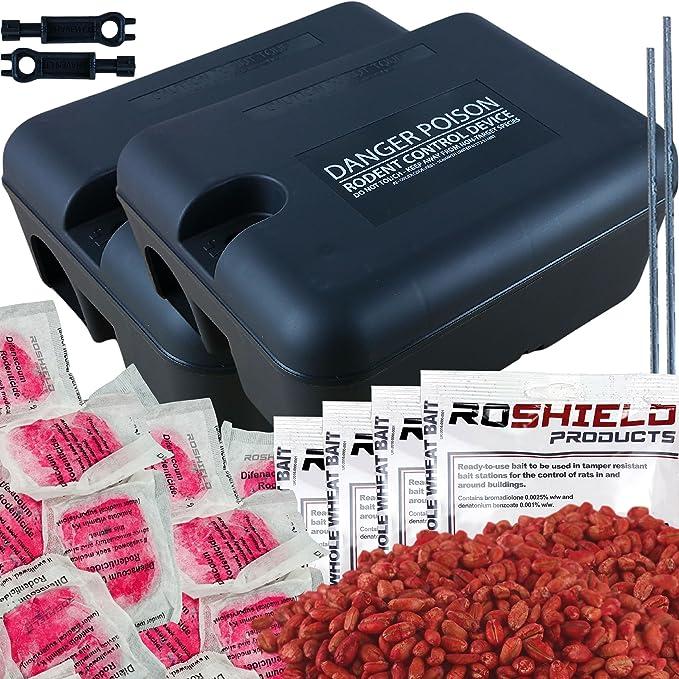 1 opinioni per Roshield, kit scatole con esche topicide da400g, veleno in grani e 20blocchi