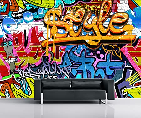 1 Wall Brightly Coloured Street Graffiti Feature Wallpaper Mural Wood Multi Colour