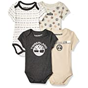 Timberland Baby Boys 4 Pieces Pack Bodysuits, Vanilla/Charcoal/Concrete 3-6 Months