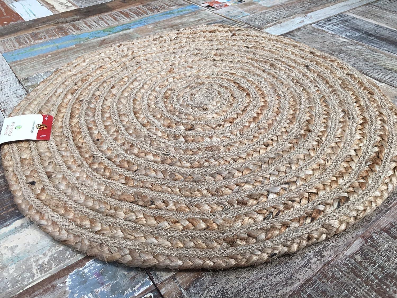 second nature petit rond 60 cm beige tapis tress en toile de jute amazonfr cuisine maison - Tapis En Jute
