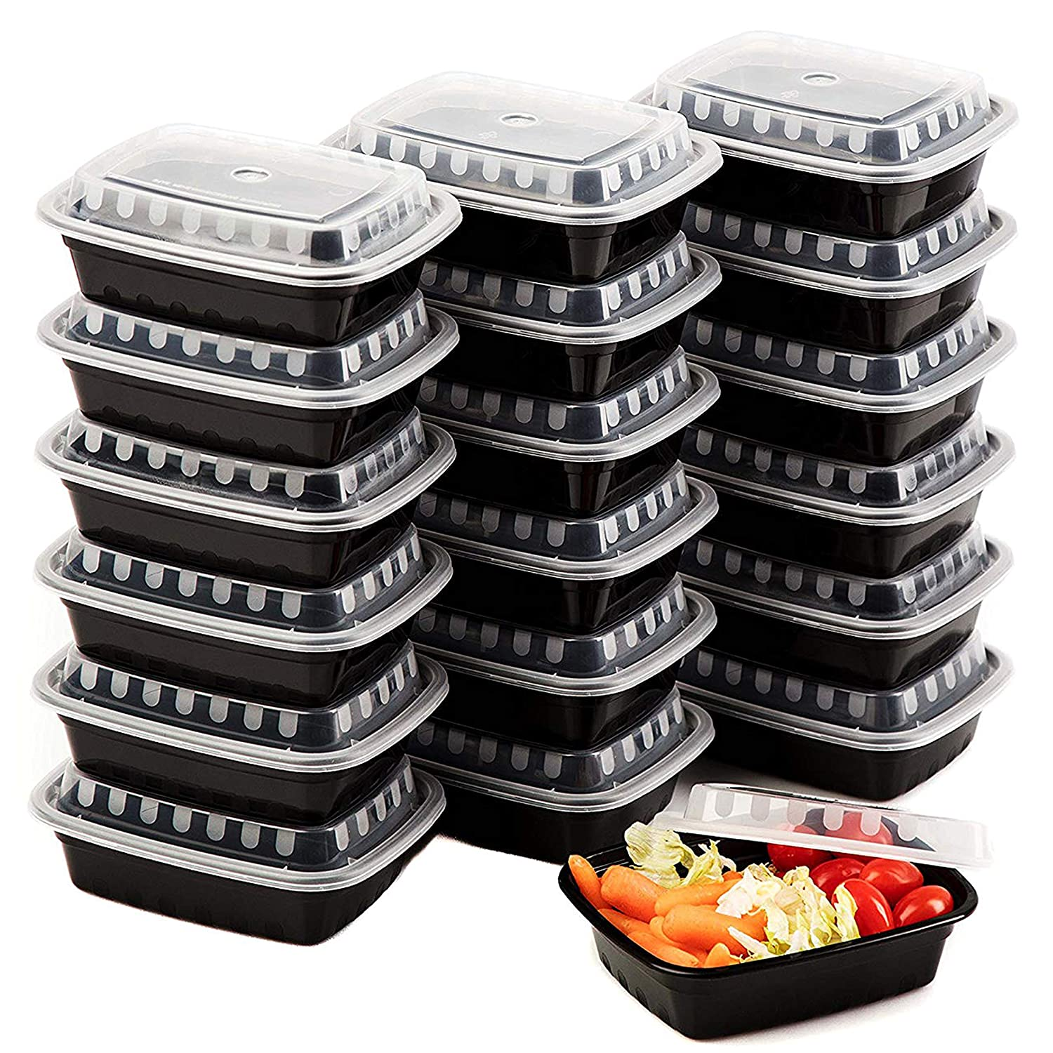 Premium SMALL meal prep containers - 25 Pack of 12OZ Mini Food Storage Bento Box - Reusable BPA Free Microwave and Freezer Safe Portion Control Trays by Upper Midland Products