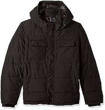 Tommy Hilfiger Men's Big Nylon Two Pocket Hooded Puffer Jacket, Black,  3XLARGE