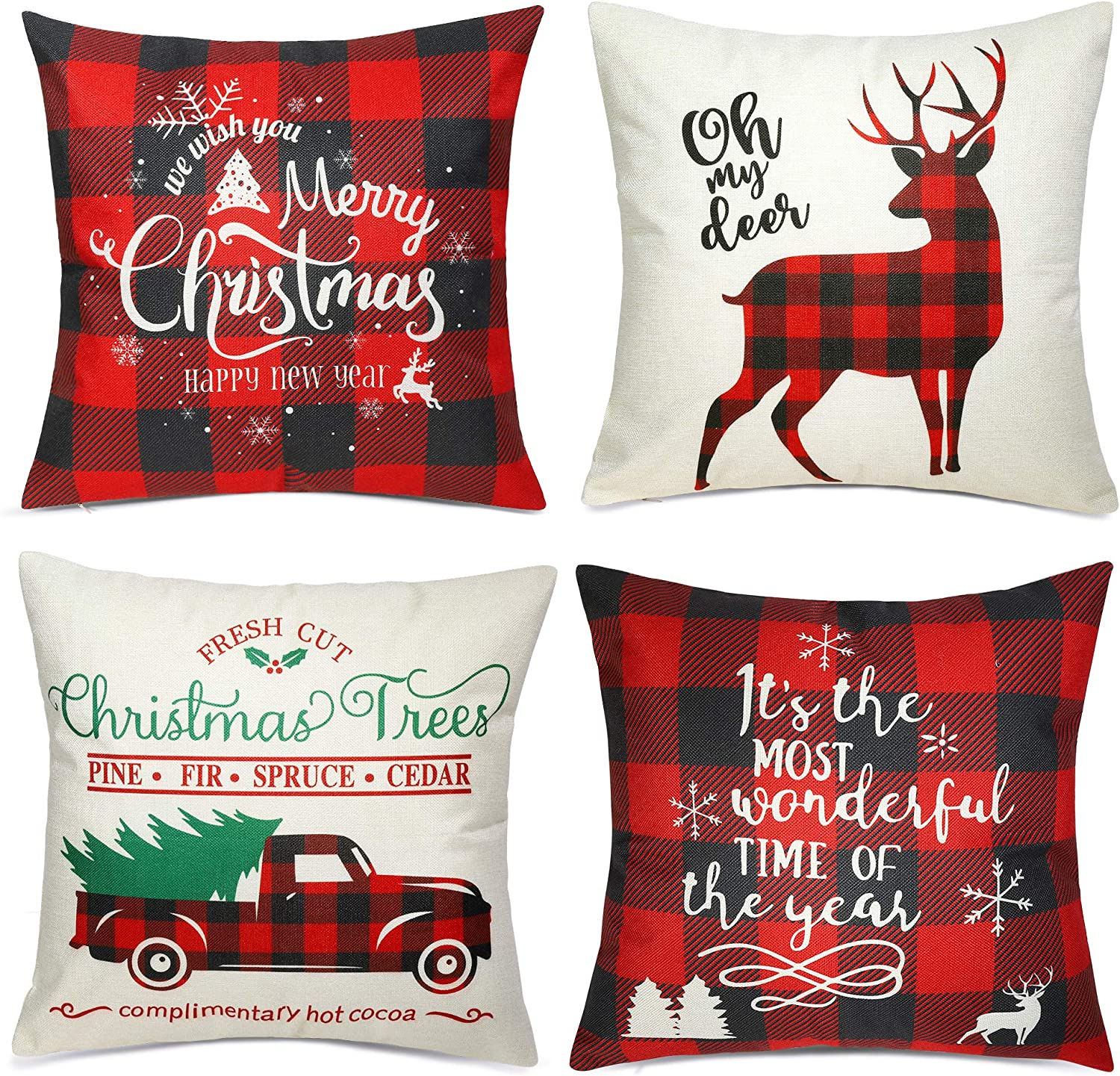 Christmas Pillow Covers 18×18 Inch Farmhouse Deer Pillowcase Black and Red Plaid Linen Pillow Covers for Sofa Couch Christmas Decorations Throw Pillow Covers Holiday Decor Set of 4
