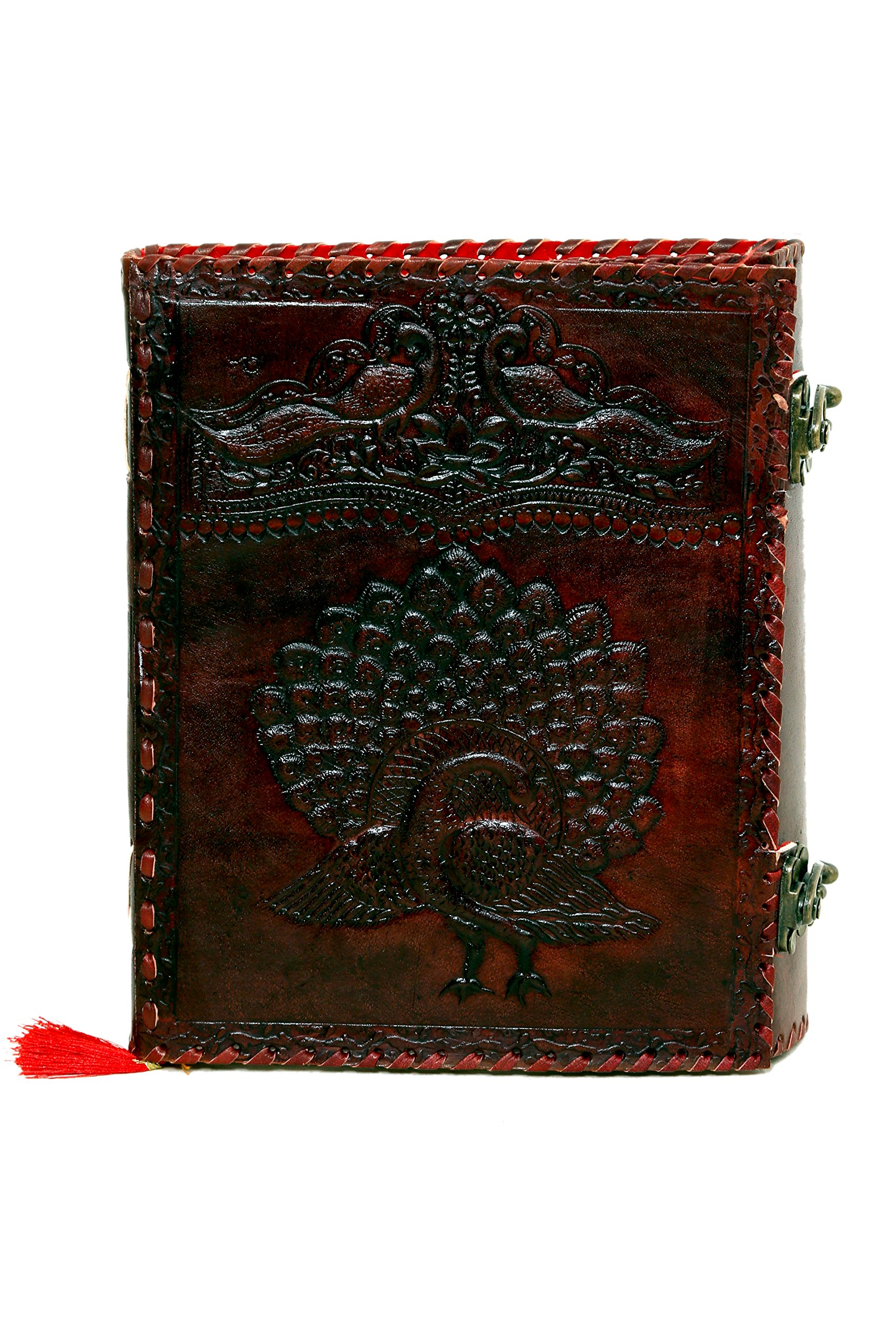 Imperial Vintage Handmade Leather Journal 9 X7'' Embossed Peacock Notebook, Diary, Sketchbook, Travel And Thought Blank Book for Writing & Sketching