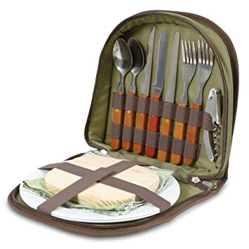 Conjunto de picnic para 2 - Cartera compacta que encaja en una cesta o bolsa. Con cubiertos, tabla de queso, abrebotellas, servilletas: Amazon.es: Jardín
