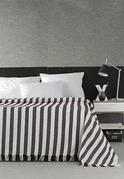 DECORACION NUEVO ESTILO- Plaid-Foulard Multiusos Toscana para Camas o sofás, tamaño 180 x 260, Color 16 Marrón (Varias Medidas y Colores)