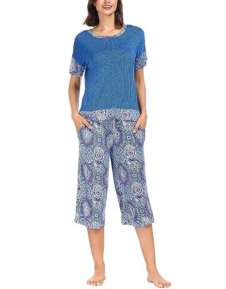 Ink+Ivy Women Pajama Set Oversized Tee and Capri Lounge Pants Blue Vector Henna Small