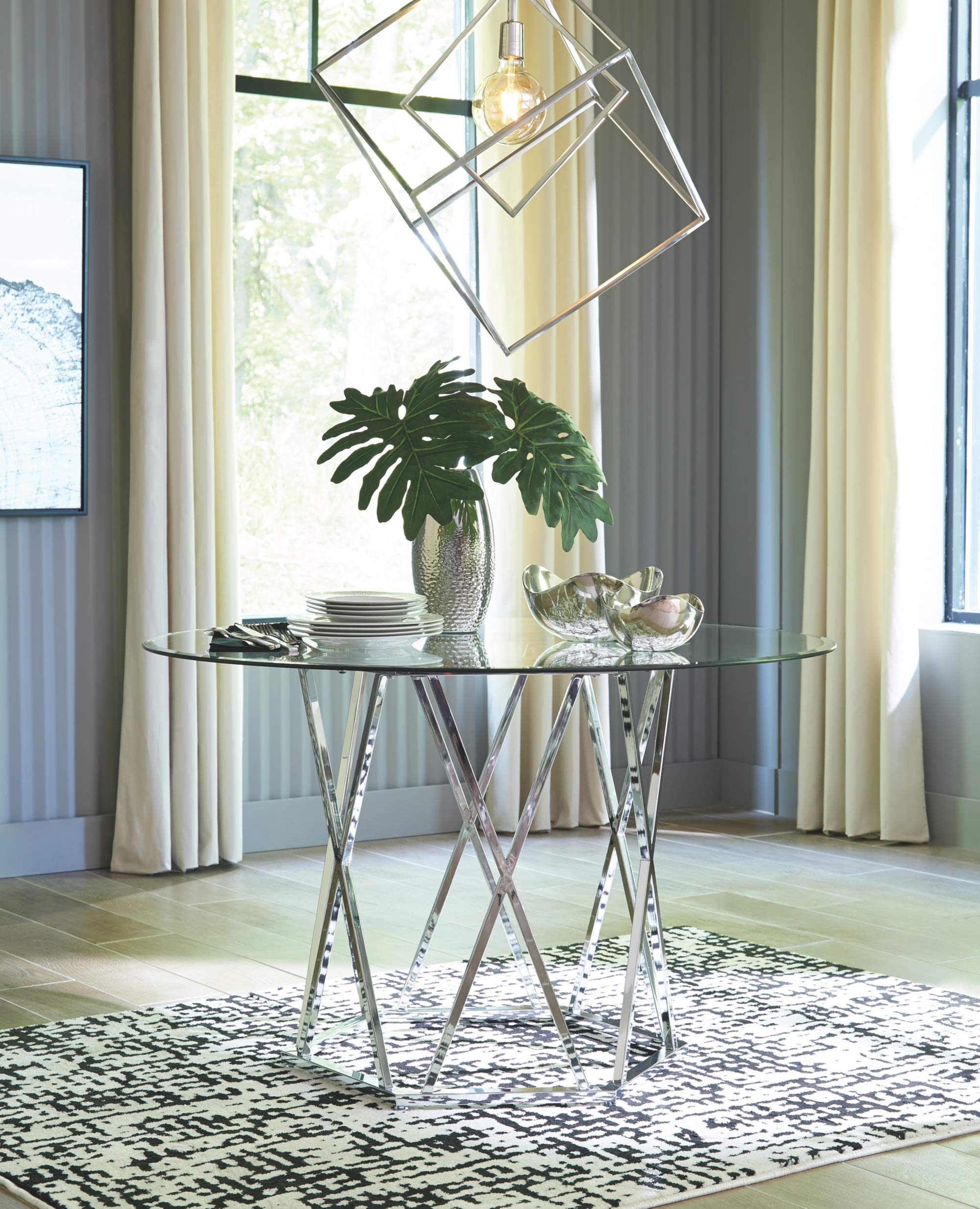 Signature Design by Ashley D275-15 Madanere Dining Table, Chrome by Signature Design by Ashley (Image #2)