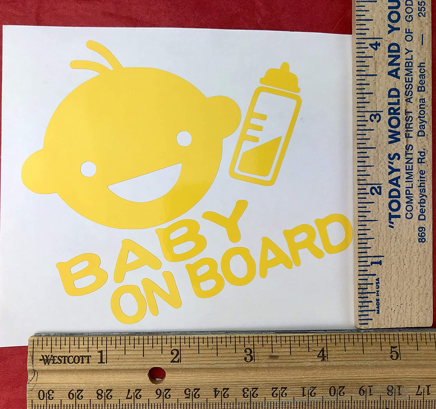Gift Yellow Vinyl Car Decal Baby On Board New Bottle