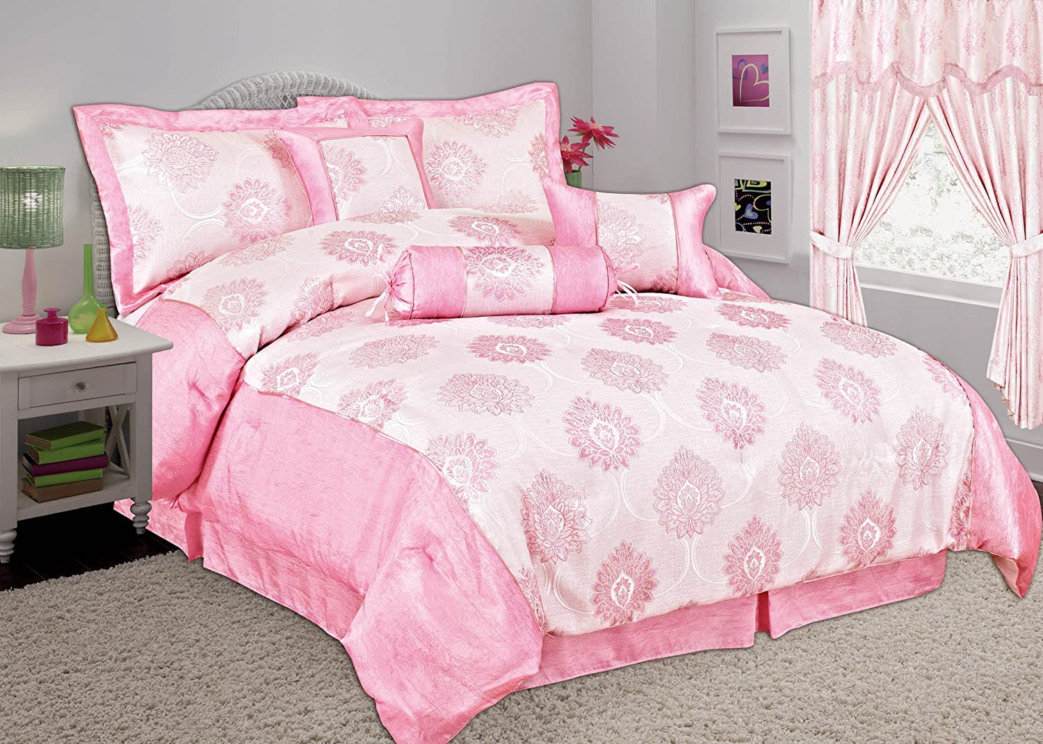 Valance Sheet Pillow Cases Double, Pink Cushion and Neck Roll Online Bedding Store 7pcs MALTA Comforter Set.Bedspread