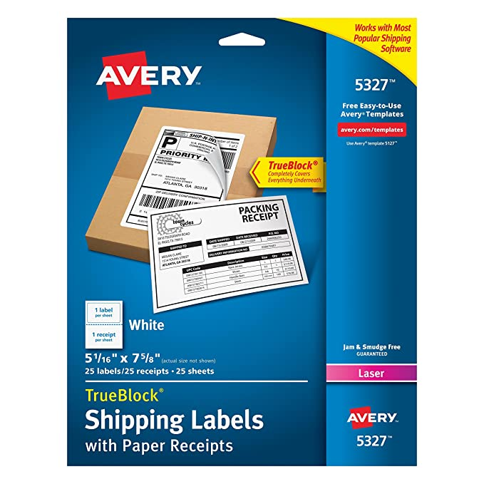 Amazon Avery Shipping Label With Paper Receipt Laser