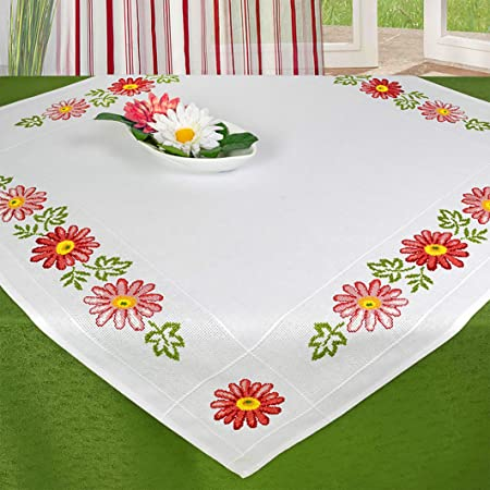 Rose heart tablecloth Pattern Stamped or Counted DIY Cross Stitch Kits for  Embroidery Needlework Gift 11CT