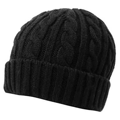 New Good Quality Boys Girls Cable Knitted Black Wooly Beanie Winter ... df50685df5d