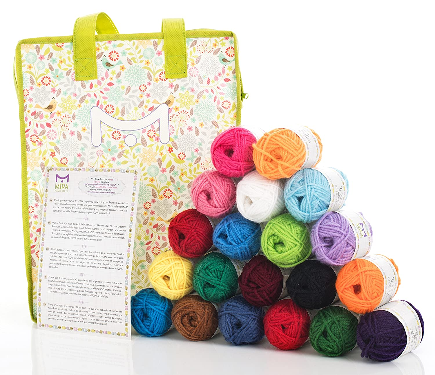 Mira Handcrafts 20 Acrylic Yarn Balls – Total of 800m Knitting and Crochet Yarn – Multicolour Yarn in Reusable Storage Yarn Bag and 7 Ebooks with Yarn Patterns Miragoods