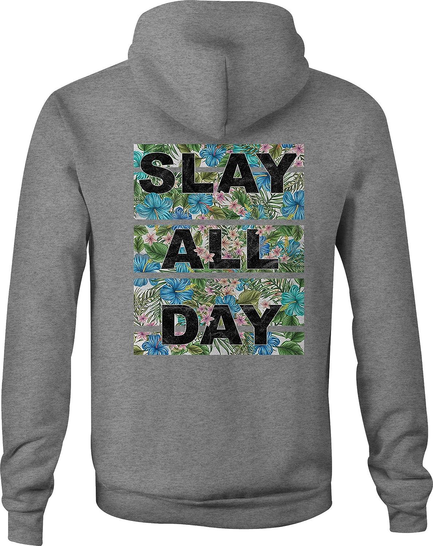 Zip Up Hoodie Slay All Day Flowers Hooded Sweatshirt for Men