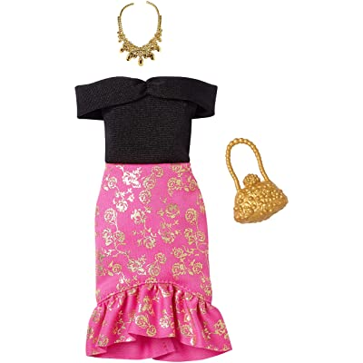 Barbie Complete Looks Doll Clothes, Outfit for Barbie Dolls Featuring Off-Shoulder Dress with Pink and Golden Floral Skirt and 2 Accessories, Gift for 3 to 8 Year Olds: Toys & Games