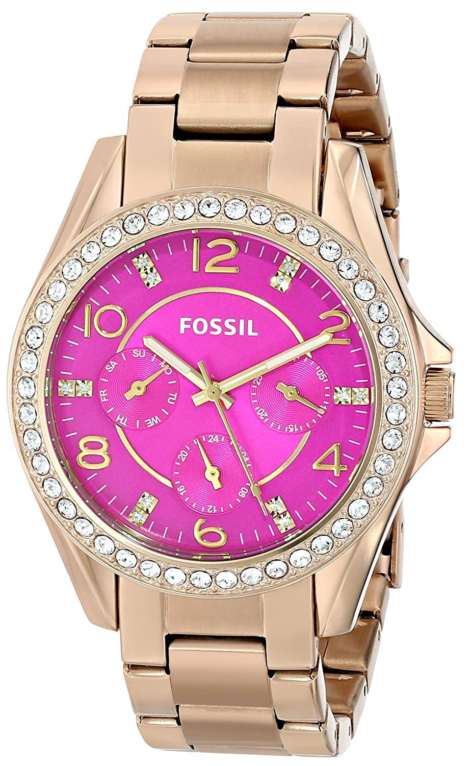 Amazon.com: Fossil Womens ES3507 Riley Crystal-Accented Gold-Tone Stainless Steel Watch: Fossil: Watches