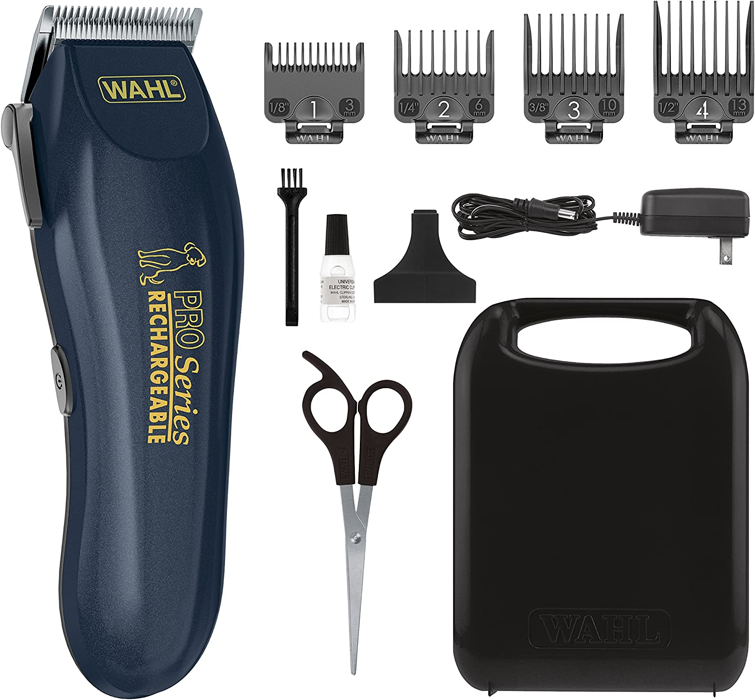 WAHL Clipper Lithium Ion Deluxe Pro Series Rechargeable Pet Grooming Kit - Low Noise Cordless Electric Shaver for Dog & Cat Trimming with Heavy Duty Motor – Model 9591-2100