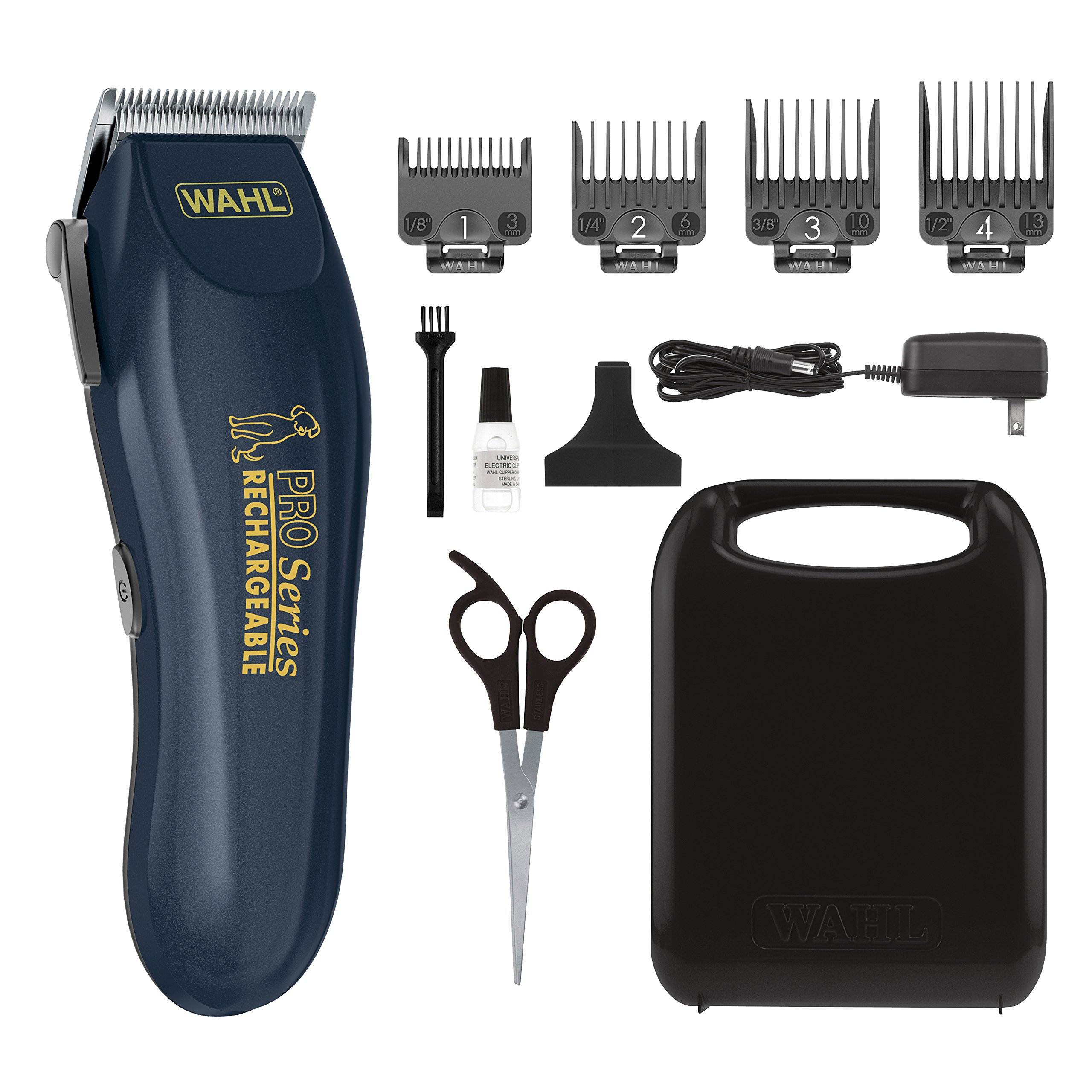 WAHL Clipper Lithium Ion Deluxe Pro Series Rechargeable Pet Grooming Kit - Low Noise Cordless Electric Shaver for Dog & Cat Trimming with Heavy Duty Motor - Model 9591-2100 by WAHL
