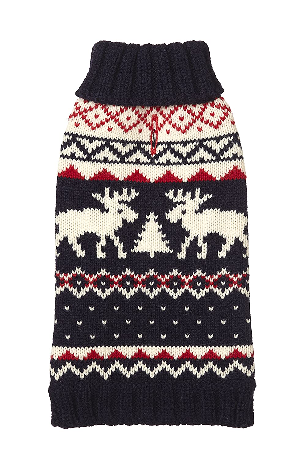 12\ Fab Dog Knit Turtleneck Dog Sweater Moose Fairisle, Navy, 12-Inch Length