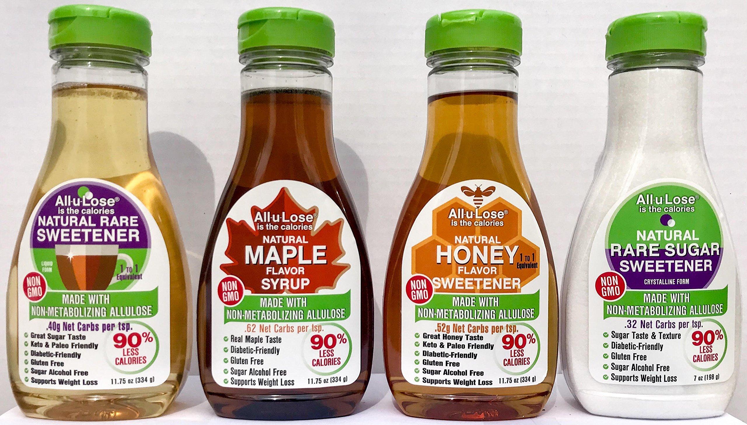 All-u-Lose Natural Rare Sugar Sweetener, Non-GMO Allulose, (Variety Pack of 4)