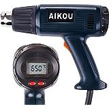 Pistola de aire caliente de 2000 vatios con pantalla LCD trasera Controles digitales, 100 ° C a 650 ° C,ideal para la deformación, contracción, soldadura y descongelación (Azul oscuro)