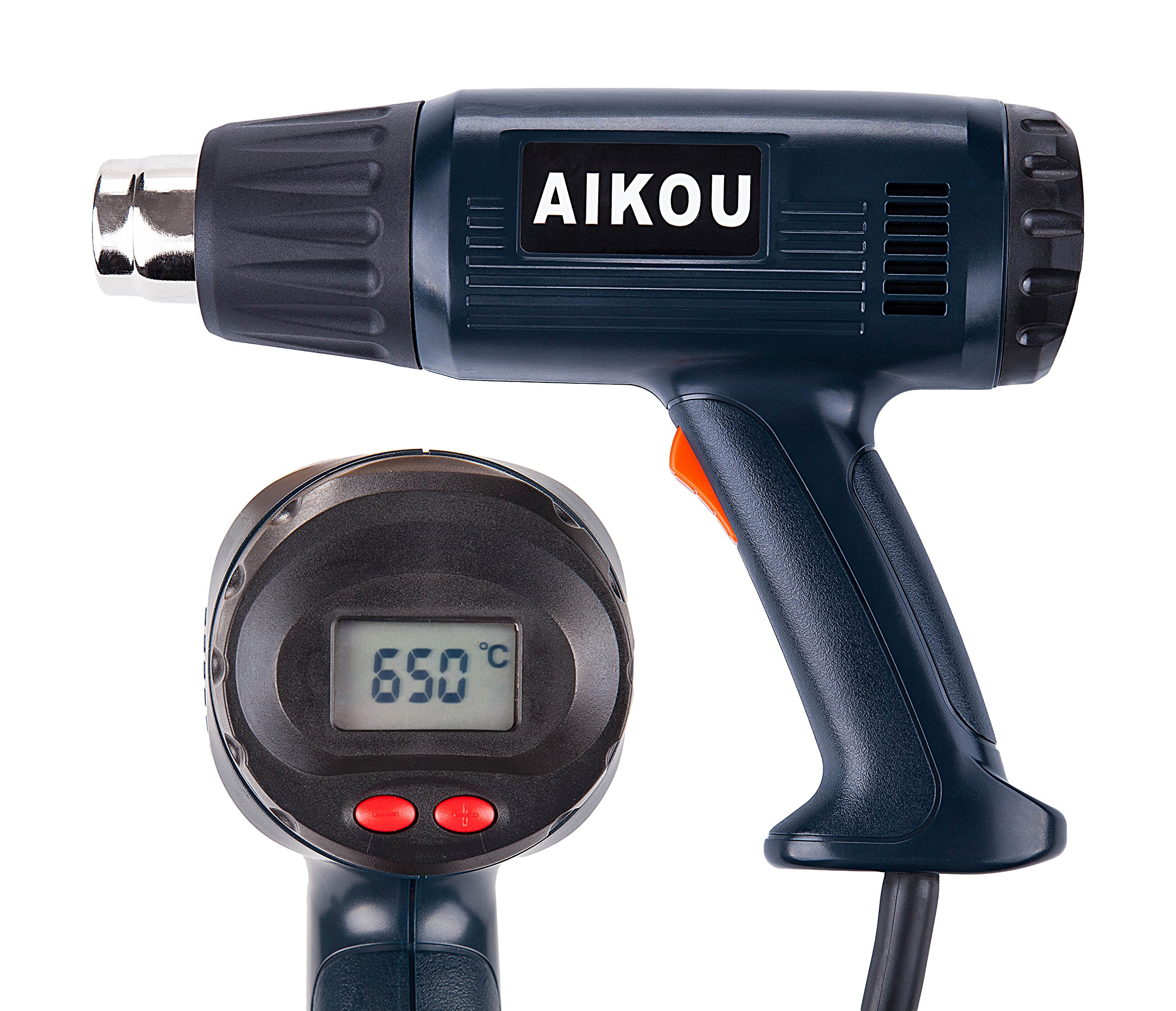 Pistola de aire caliente de 2000 vatios con pantalla LCD trasera Controles digitales, 100 °