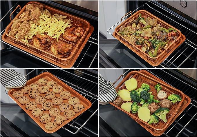 Cobre Crisping Bandeja/cesta de la freidora de aire en basicndaily - Chef 360 ° cocinar y parrilla de malla bandeja de horno, antiadherente, ...