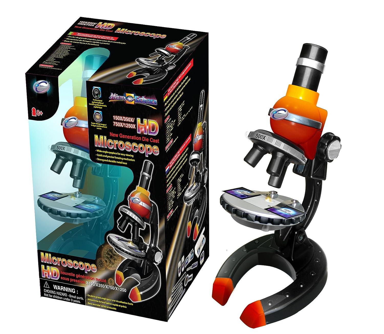 Micro-Science 92002 100/250/500X HD Mikroskop der neuen Generation, Gelb/Rot