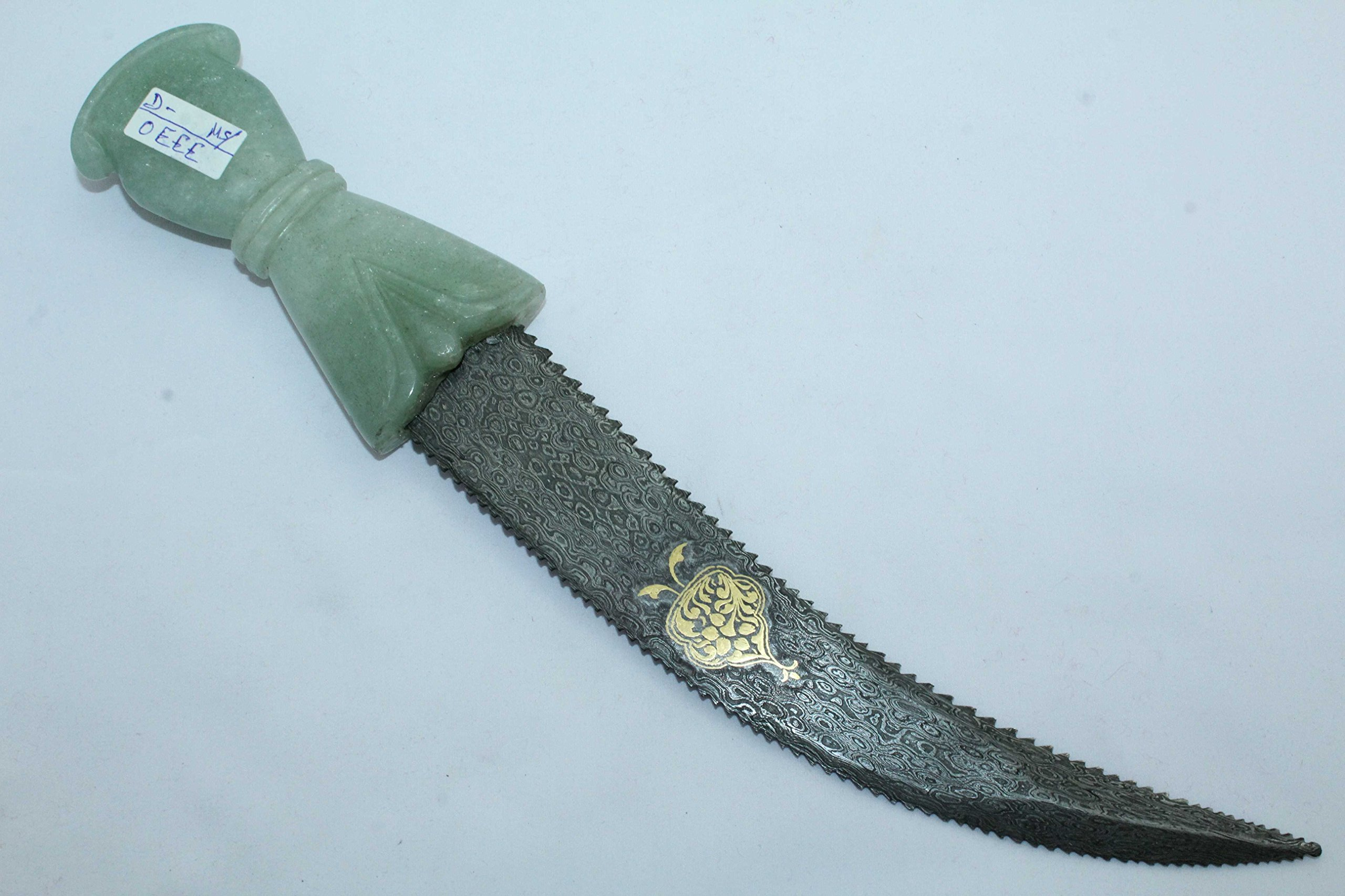 Rajasthan Gems Handmade Green Jade stone Handle Dagger Knife Damascus steel gold work on blade