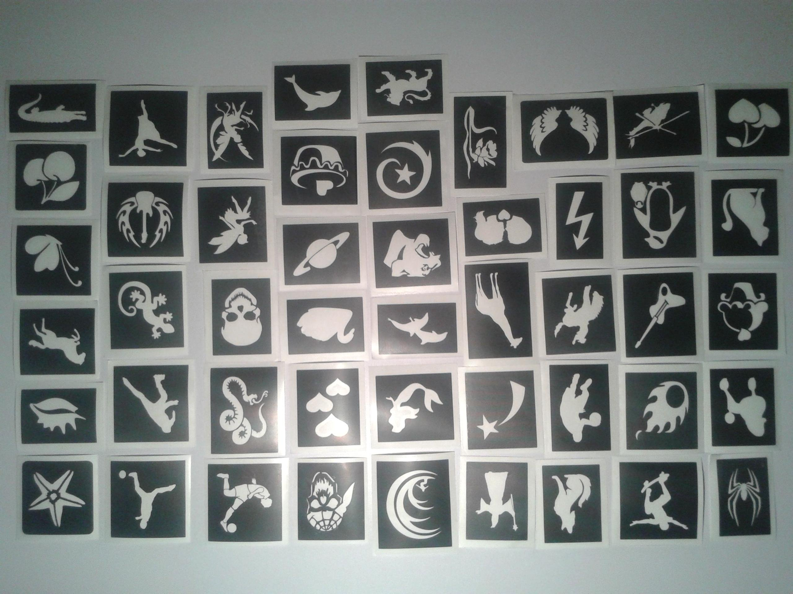 50 mini small tattoo stencils for glitter tattoos / airbrush tattoos / cakes / henna / many other uses girls & boys by Dazzle Glitter Tattoos (Image #1)