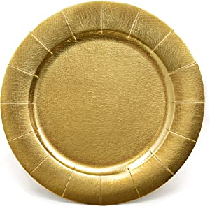 24 Disposable Gold Round Charger Plates 13